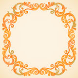 Concept abstract autumn frame with place for text. Ornament frame in Victorian style. Element for design. It can be used for decorating of invitations Stock Image
