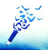 Concept abstract blauw potlood met vogels Stock Afbeelding