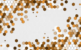 Concept abstract brown point hexagon business and technology ban Stock Images