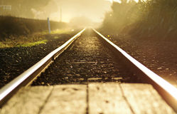 Concept abstract a fresh start ~ railroad tracks at dawn background. A conceptual image of railroad tracks taken at lowest level possible at risk of being hit by royalty free stock photos