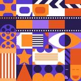 Concept abstrait de cinéma de vecteur Concevez les éléments, le modèle et le fond pour l'affiche de film, billet d'entrée, insect illustration libre de droits