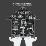 The concept of accessible environment for people with disabilities. House with icons on the palms. Vector illustration stock illustration