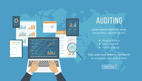 Concept of accounting, analysis, audit, financial report. Auditing tax process. Hands with laptop, documents, graphics, charts. Vector business background Royalty Free Stock Photography