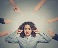 Concept of accusation of guilty businesswoman Royalty Free Stock Images