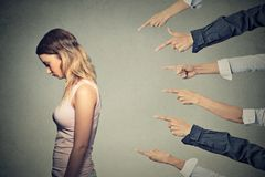 Concept of accusation guilty person girl Stock Photos