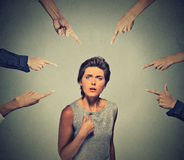 Concept of accusation guilty person girl. Stock Images