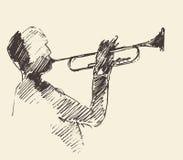 Concept acoustique de musique de trompette d'affiche de jazz illustration libre de droits