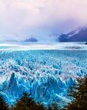The glacier Perito Moreno. The concept of active and extreme tourism. The spectacular glacier Perito Moreno, located in the national park of Los Glaciares in stock image