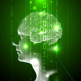 The Concept of Active Human Brain with Binary Code Royalty Free Stock Image