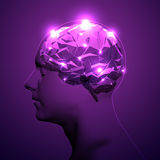 Concept of Active Human Brain. On Dark Background. Vector Illustration royalty free illustration