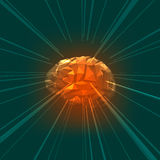 The Concept of Active Human Brain with Rays Stock Image