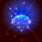 The Concept of Active Human Brain with Rays. Vector Illustration royalty free illustration