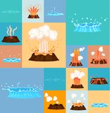 Concept of Active Volcano and Geyser in Action. Concept of active volcano and blue geyser in action. Splash of hot lava, flowing magma, discarded steam under Stock Image