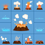 Concept of Active Volcano and Geyser in Action Royalty Free Stock Photos