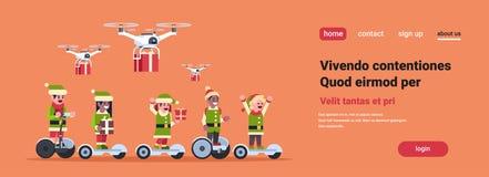 Concept actuel de nouvelle année de vacances de Noël de service de distribution de bourdon électrique de scooter de tour d'aide d illustration stock