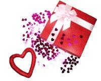Concept actuel de vacances d'amour de jour du ` s de valentine de carte de voeux de boîte Photographie stock libre de droits