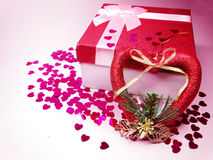 Concept actuel de vacances d'amour de jour du ` s de valentine de carte de voeux de boîte Photo libre de droits