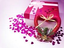 Concept actuel de vacances d'amour de jour du ` s de valentine de carte de voeux de boîte Images libres de droits