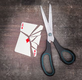 Concept of addiction, card with scissors Stock Image