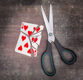 Concept of addiction, card with scissors Royalty Free Stock Image