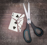 Concept of addiction, card with scissors Royalty Free Stock Photos