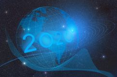 The concept of the advent of the new technological year 2020 and the development of artificial intelligence on the planet earth. The concept of the advent of stock illustration