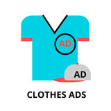 Concept of advertising on clothes. Modern flat thin line design vector illustration, concept of advertising on clothes, for graphic and web design Royalty Free Stock Photos