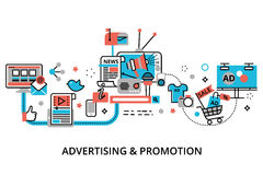 Concept of advertising, marketing and promotion process. Modern flat thin line design vector illustration, concept of advertising, marketing and promotion Royalty Free Stock Images