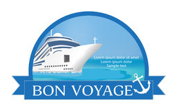 Concept for advertising travel on the cruise ship. Concept for advertising travel on the cruise ship with «Bon Voyage» headline. Vector illustration Stock Photo