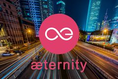 Concept of Aeternity coin or AE, a Cryptocurrency blockchain platform , Digital money, Cityscape. Background royalty free stock image