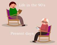 Concept afgelopen en toekomstig Mensenzitting in schommelstoel De krant van de jonge mensenlezing Leuke mens thuis De hogere mens vector illustratie
