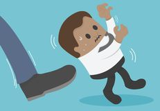 African businessman being kicked out. Concept African businessman being kicked out vector illustration