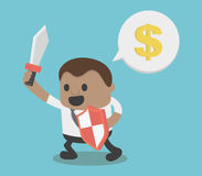 Concept African Businessman Hold Sword and shield illustration Stock Photography