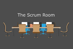 Concept of Agile process, scrum room team meetings, teamwork, brainstorming Stock Photography
