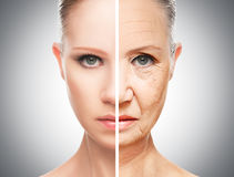 Concept of aging and skin care. Face of young woman and an old woman with wrinkles royalty free stock image