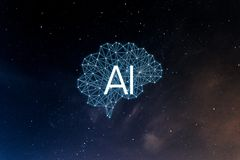 Concept AIArtificial Intelligence. Neural networks, machine and deep learning, and another modern technologies concepts. Brain representing artificial