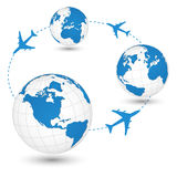 Concept of Airplane, Air Craft Shipping Around the World for Transportation Concept. Royalty Free Stock Image