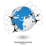 Concept of Airplane, Air Craft Shipping Around the World for Transportation Concept Stock Images