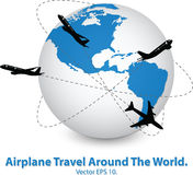 Concept of Airplane, Air Craft Shipping Around the World for Transportation Concept Royalty Free Stock Photography