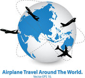 Concept of Airplane, Air Craft Shipping Around the World for Transportation Concept Stock Image