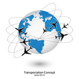 Concept of Airplane, Air Craft Shipping Around the World for Transportation Concept Stock Photos