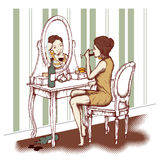 Concept of alcoholism. Young woman drinking wine in front of the mirror Stock Images