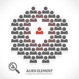 Concept of alien element inside a team Stock Image