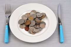 Concept of alimony with pieces of a plate stock image