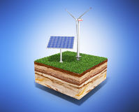 Concept of alternative energy 3d illustration of cross section o Stock Images