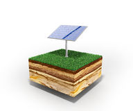 Concept of alternative energy 3d illustration of cross section o Royalty Free Stock Photo