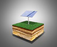 Concept of alternative energy 3d illustration of cross section o Royalty Free Stock Photos