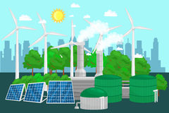 Concept of alternative energy green power, environment save, renewable turbine energy, wind and solar ecology Royalty Free Stock Photos