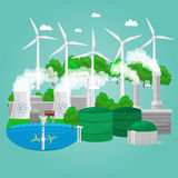 Concept of alternative energy green power, environment save, renewable turbine energy, wind and solar ecology. Electricity, ecological industry vector Stock Photo