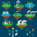 Concept of alternative energy green power, environment save, renewable turbine energy, wind and solar ecology. Electricity, ecological industry vector stock illustration